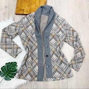 Plaid Checkered Winter Button Blazer Jacket